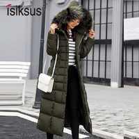 Isiksus acolchado cálido chaquetas de invierno para Mujer Plus tamaño larga acolchada negro abrigo de piel con capucha chaqueta 2018 Parkas para las mujeres WP013