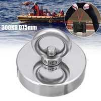 300 KG D75mm salvar imán de neodimio de pesca salvar recuperación recuperar imán súper poderoso agujero Circular gancho