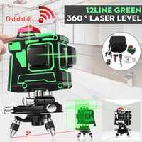 12 Línea Verde/luz azul de luz láser nivel 3D auto nivelación 360 Rotary medida Cruz con trípode giratorio 360 verde/azul 100-240 V