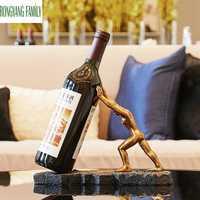 Europea Hércules vino Rack figuras decoración del hogar vino estante de carácter escultura vino soporte accesorios artesanía