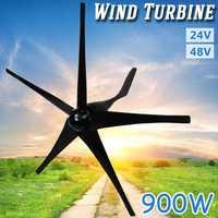 Negro 900 W 24/48 voltios 5 de fibra de Nylon hojas Horizontal generador de las turbinas de viento de molino de viento de energía Kit de cargador