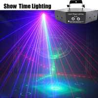 Show Time 6 lentille DMX rouge vert bleu faisceau RGB 16 modèles Laser Scanner lumière maison fête DJ scène éclairage KTV Show secteur laser