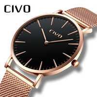 Reloj minimalista con Reloj de pulsera a prueba de agua con malla de acero inoxidable para Hombre