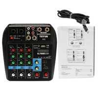 Console de mixage de son TU04 BT enregistrement 48 V moniteur d'alimentation fantôme AUX chemins d'accès Plus effets mélangeur Audio 4 canaux avec USB