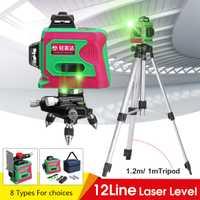 3D 12 Línea Verde de luz láser Nivel Auto nivelación 360 ° Rotary medida Cruz montado en la pared de soporte 1/1 2 mTripod Base nos enchufe