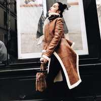 Xnxee Irregular de lana abrigos de cuero de la Pu de cuello alto con cremallera Midi largo abrigo de invierno gruesa hembra de gran tamaño marea de ropa