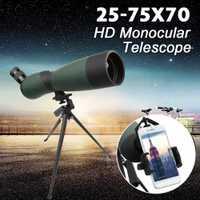 25-75x70 HD lente del telescopio Monocular trípode Clip teléfono celular la noche visión impermeable al aire libre telescopios