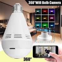 AC110-220V E27 noche luz bombilla 960 P inalámbrico Bluetooth WIFI 360 cámara IP panorámica música bombilla LED
