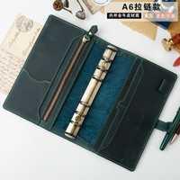48 k de cuero genuino Vintage hecho a mano Personal planificador A6 diario Notebook, pequeño Padfolio de hoja suelta-regalo de cumpleaños