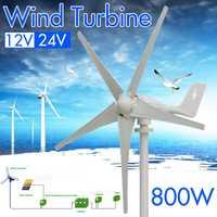 800 W de 24 voltios 12 V eficiente 5 de fibra de Nylon hojas Horizontal generador de las turbinas de viento de molino de viento de energía Kit de cargador A casa