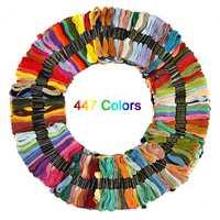 447 colores de punto de cruz hilo de poliéster bordado casa líneas 8 m largo Cruz puntada hilo conjunto Cruz puntada DIY costura artesanal
