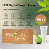 LED PM2.5 Detector de reloj inteligente formaldehído de la calidad del aire de detección de calendario de escritorio reloj despertador decoración 21x9x4,5 cm durable