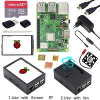Raspberry Pi 3 Modelo B, modelo B + pantalla táctil de 3,5 pulgadas LCD + ABS + tarjeta SD de 32 GB + 3A adaptador de corriente + disipadores térmicos + HDMI para RPI 3B Plus