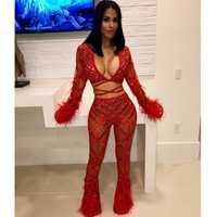 MUXU rojo transparente sexy Body de encaje de malla plumas brillo lentejuelas pantalones 2 unidades conjunto de las mujeres traje de dos piezas set top y pantalones
