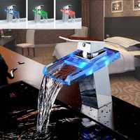 LED Color cambia de cascada Cuenca del grifo del baño bañera sola manija lavabo grifo de cocina grifo de agua de cromo