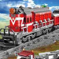 DIY bloques de construcción de juguetes de tren Locomotora Diesel, la estación de tren de pistas de Kits de bloques de construcción de juguetes de los niños
