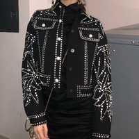 Invierno de 2018 estilo Punk mujeres negro chaqueta pista diseñador de diamantes de lujo perlas mujer Streetwear abrigo ropa