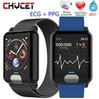 Chycet pulsera inteligente ECG PPG la medición de la presión arterial reloj Monitor de frecuencia cardíaca Fitness banda con rastreador de actividad