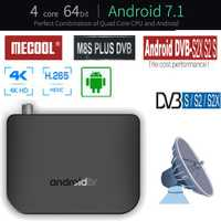 M8S más DVB-S2/S2X/S receptor de satélite Digital Android caja de TV S905D Quad Core 1 GB 8 GB 1080 p 4 K Wifi Youtube Google Play Store