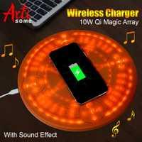 10 W la magia Array cargador inalámbrico Universal círculo Qi inalámbrico cargador de carga para iPhone X XS X Max XR samsung con caja