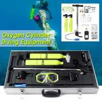 Dos cilindros de oxígeno tanque de aire Mini equipo de buceo tanque respirar regulador de w/caja de la libertad respiración bajo el agua