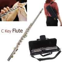 Concierto de flauta de plata 16 agujeros C clave cuproníquel instrumento Musical con paño de limpieza con guantes destornillador