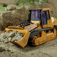 XM-6822L RC camión 6CH excavadora Caterpillar Tractor modelo de coche ingeniería coche con Lighyt juguete equipado con Cable de carga USB