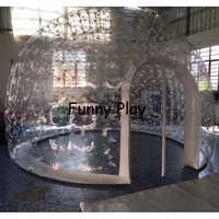 Tienda de campaña hermética inflable media transparente media Casa de burbujas negra para alquiler de hotel, publicidad de patio trasero de camping familiar