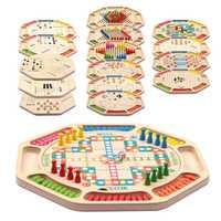 Madera ajedrez Backgammon ajedrez vuelo selva serpiente juego de mesa familia niños diversión juego de mesa niños chico regalo de cumpleaños