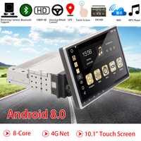 10,1 pulgadas coche reproductor Multimedia Android 8 Core 1din radio GPS estéreo Wifi Bluetooth RDS Audio estéreo Universal de los reproductores Multimedia