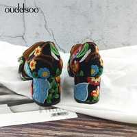 Estilo étnico de encaje Floral bordado de las mujeres, resbalón en sandalias Retro impresión gruesa zapatos de tacón alto zapatos de mujer zapatos de gran tamaño 9 42 43