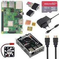 Raspberry Pi 3 modelo B, modelo B + Plus Starter Kit + capa 9 caso de acrílico + Fan + 16 GB 32 GB tarjeta SD + interruptor de alimentación + HDMI + GPIO + disipadores de calor