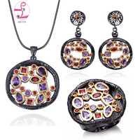 ZHE FAN AAA Zirconia joyería de las mujeres de lujo Oro Negro Color 3 piezas collar pendiente anillo Partido de regalo de día de San Valentín tamaño 7-10