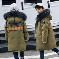 Los niños niño chaqueta de invierno de piel real con capucha parka larga abrigo de los niños de gran Escuela 8 de 10 a 14 adolescentes Chico-30 rusia ropa de invierno ropa de abrigo