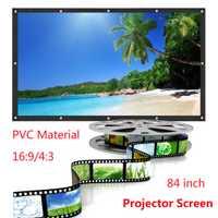 Laminado en 84/100 pulgadas Pantalla de proyector 16:9 HD portátil de cine en casa de proyección al aire libre LED proyector de pantalla para cine en casa