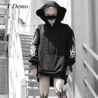 Punk gótico Streetwear sudaderas con capucha de las mujeres Rock impresión Harajuku máscara sudadera de manga larga
