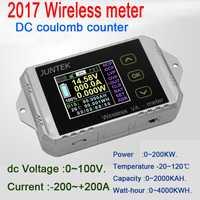 Monitor de batería DC 100 V 300A inalámbrico de temperatura amperímetro de KWh vatios medidor de coulometer capacidad probador de potencia del coche 12 V 24 V