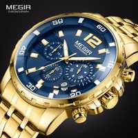 Megir hombres relojes de cuarzo de acero inoxidable de oro cronógrafo Analgue reloj para hombre impermeable luminoso 2068GGD-2N3