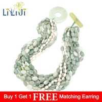 Jades de serpentina China Natural única LiiJi, cuentas de perlas de agua dulce 9 filas con collar de cierre de palanca grande Jades