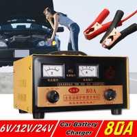 Cargador de batería de coche 6 V 12 V 24 V automático eléctrico cargador de batería de coche inteligente pulsos reparación tipo 60A /80A para coche