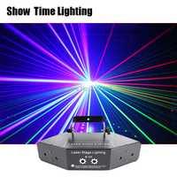 Afficher le temps rvb Laser image lignes faisceau scanne DMX DJ danse Bar café Xmas maison fête Disco effet éclairage système de lumière spectacle
