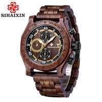 Cronógrafo a prueba de agua fecha relojes de madera hombres caballeros minimalista reloj masculino reloj de madera caja de regalo Envío Directo