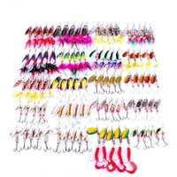 Hengjia señuelo de Pesca Kit mixto Spinner cebo señuelo cuchara con pluma ganchos agudos Peche plantilla Anzuelos Pesca giratorio suave cebo -100