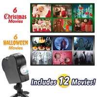 Projecteur Laser de noël Halloween 12 films Mini fenêtre projecteur Home cinéma intérieur extérieur projecteur de pays des merveilles pour les enfants D