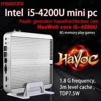 MSECORE Intel I5 4200U sin ventilador Mini PC Windows 10 NUC HTPC Nettop barebone sistema linux juego de computadora de escritorio HD4400 300M WiFi