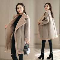 JOEYOUNG nuevo engrosamiento caliente gamuza chaqueta invierno mujeres largo corderos lana abrigo moda Deerskin Parka mujer ropa de abrigo