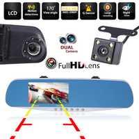 4,3 ''2 lente Dash Cam Full HD 1080 P visión nocturna coche DVR Detector Cámara revisión espejo DVR Digital videocámara automática grabadora de vídeo
