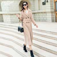 Marca de ropa de otoño e invierno nuevo Beige lana abrigo mujer abrigo de lana recto Plus tamaño ropa de calle mezclas abrigos con cinturón