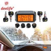 Deelife el sistema de monitoreo de presión de Sensor TPMS coche Solar de Control de presión de los neumáticos de alarma tics rueda externa los sensores internos.