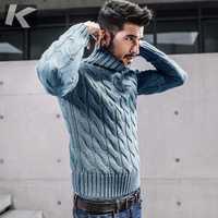 KUEGOU nuevo otoño hombres gruesos suéteres de cuello alto de punto de azul de ropa de marca hombre Slim jerséis hombre tejer jerseys 17021